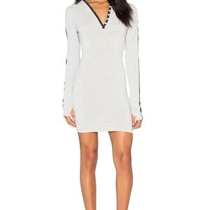 Blanc Noir Long Sleeve Hooded Racer Tunic in Grey